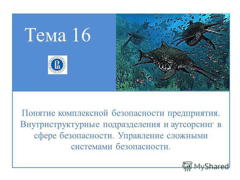 Тема 16 Понятие комплексной безопасности предприятия. Внутриструктурные подразделения и аутсорсинг в сфере безопасности. Управление сложными системами безопасности.
