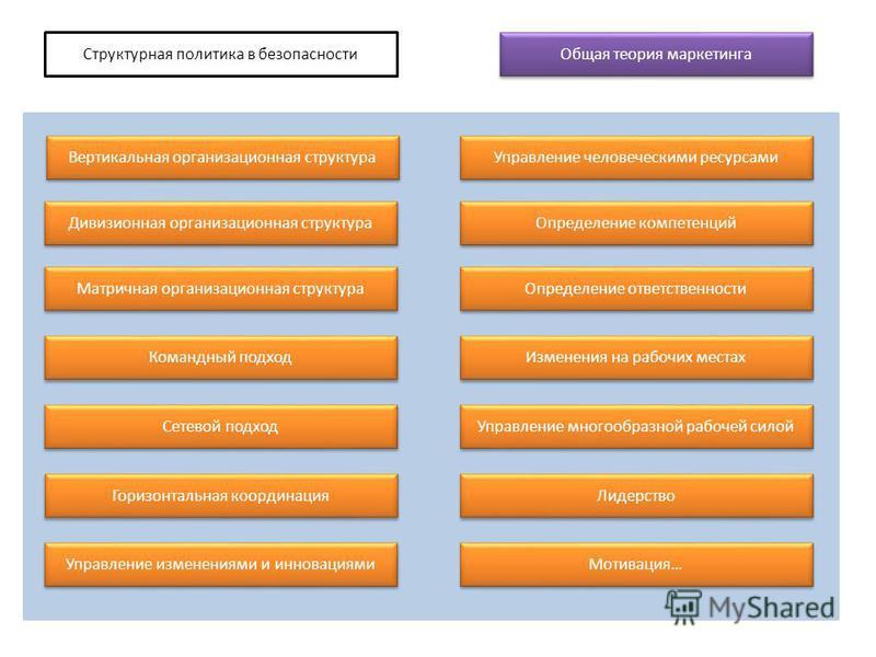 Структурная политика в безопасности Общая теория маркетинга Вертикальная организационная структура Дивизионная организационная структура Матричная организационная структура Командный подход Сетевой подход Горизонтальная координация Управление изменен