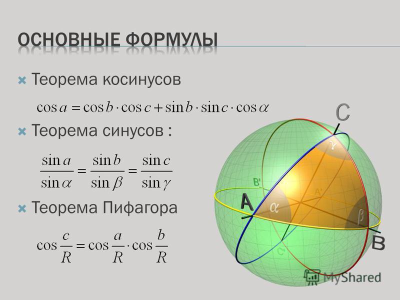 Теорема косинусов Теорема синусов : Теорема Пифагора