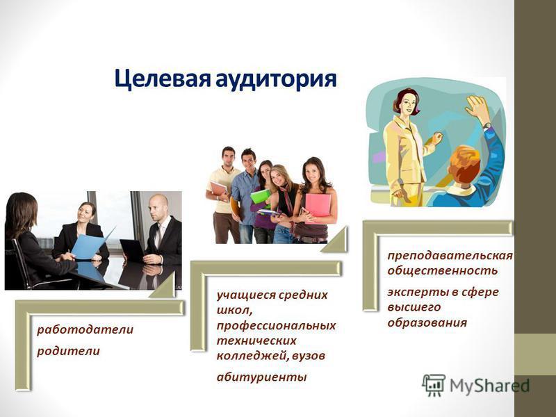 Целевая аудитория работодатели родители учащиеся средних школ, профессиональных технических колледжей, вузов абитуриенты преподавательская общественность эксперты в сфере высшего образования