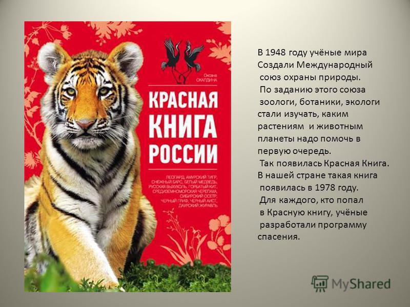 В 1948 году учёные мира Создали Международный союз охраны природы. По заданию этого союза зоологи, ботаники, экологи стали изучать, каким растениям и животным планеты надо помочь в первую очередь. Так появилась Красная Книга. В нашей стране такая кни