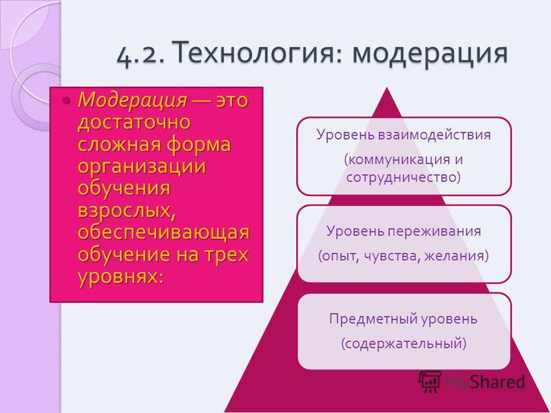 4.2. Технология : модерация Модерация это достаточно сложная форма организации обучения взрослых, обеспечивающая обучение на трех уровнях : Модерация это достаточно сложная форма организации обучения взрослых, обеспечивающая обучение на трех уровнях