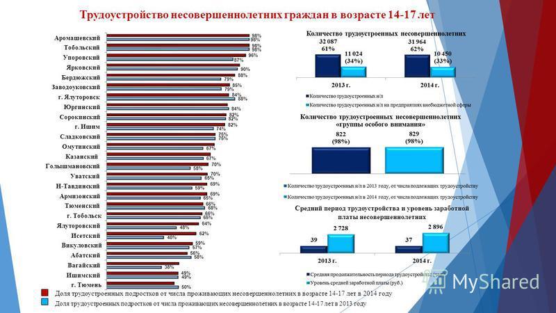 Трудоустройство несовершеннолетних граждан в возрасте 14-17 лет Доля трудоустроенных подростков от числа проживающих несовершеннолетних в возрасте 14-17 лет в 2013 году Доля трудоустроенных подростков от числа проживающих несовершеннолетних в возраст