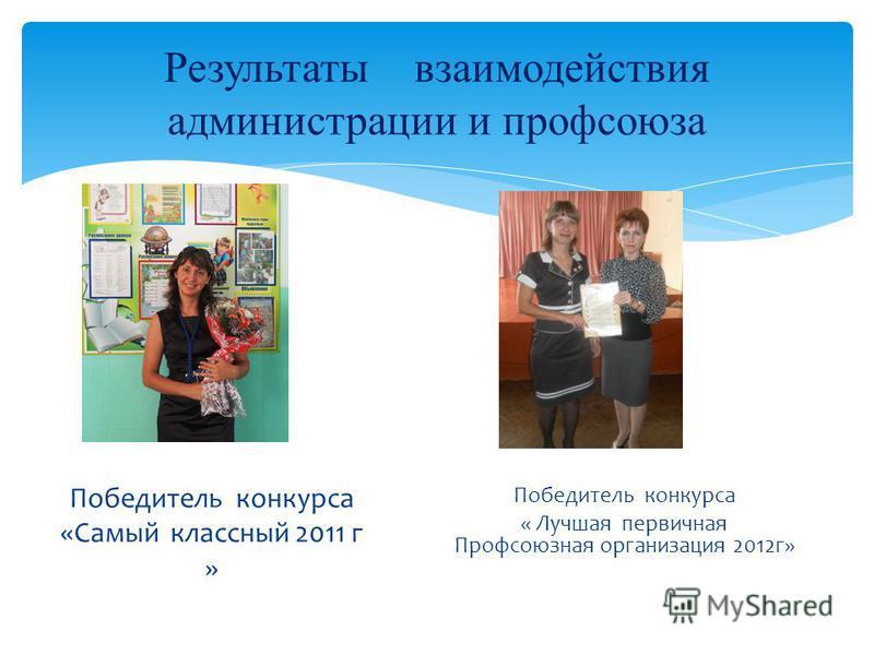 Результаты взаимодействия администрации и профсоюза Победитель конкурса «Самый классный 2011 г » Победитель конкурса « Лучшая первичная Профсоюзная организация 2012 г»