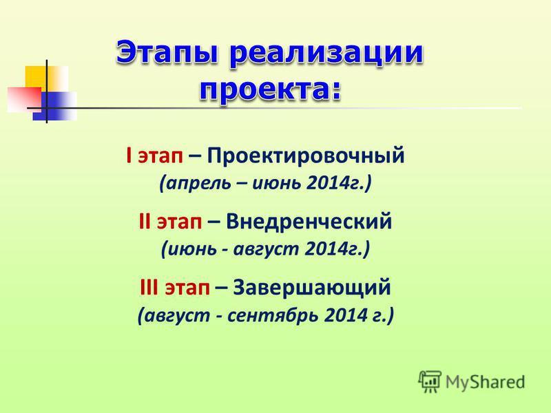 I этап – Проектировочный (апрель – июнь 2014 г.) II этап – Внедренческий (июнь - август 2014 г.) III этап – Завершающий (август - сентябрь 2014 г.)