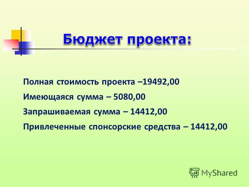 Полная стоимость проекта –19492,00 Имеющаяся сумма – 5080,00 Запрашиваемая сумма – 14412,00 Привлеченные спонсорские средства – 14412,00