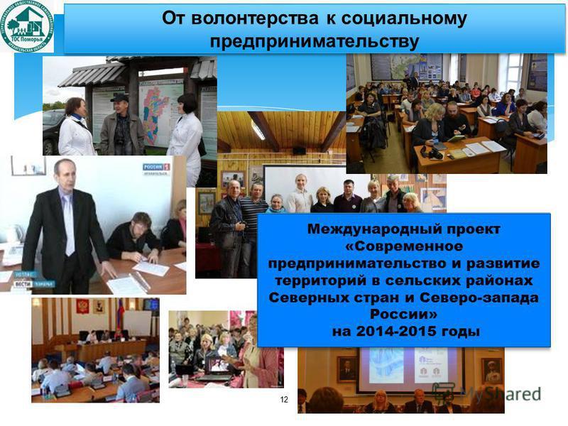 12 От волонтерства к социальному предпринимательству Международный проект «Современное предпринимательство и развитие территорий в сельских районах Северных стран и Северо-запада России» на 2014-2015 годы