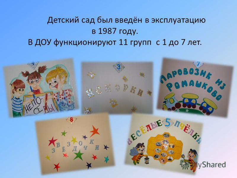 Детский сад был введён в эксплуатацию в 1987 году. В ДОУ функционируют 11 групп с 1 до 7 лет.