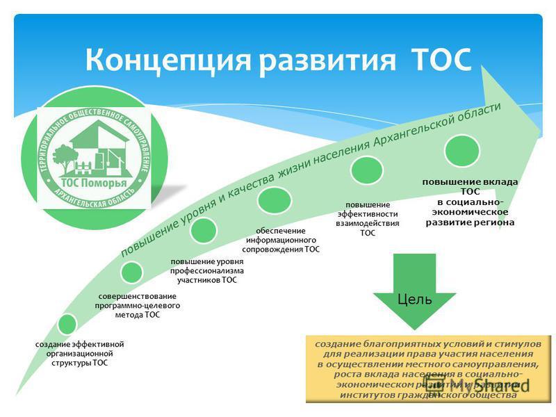 Концепция развития ТОС создание эффективной организационной структуры ТОС совершенствование программно-целевого метода ТОС повышение уровня профессионализма участников ТОС обеспечение информационного сопровождения ТОС повышение эффективности взаимоде