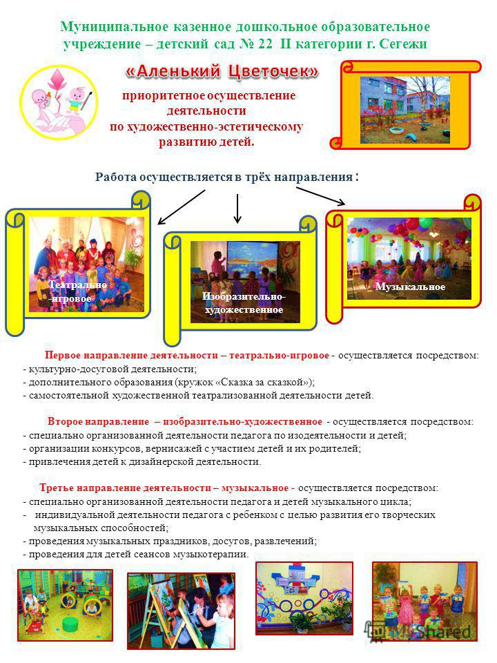 Муниципальное казенное дошкольное образовательное учреждение – детский сад 22 II категории г. Сегежи приоритетное осуществление деятельности по художественно-эстетическому развитию детей. Работа осуществляется в трёх направления : Первое направление