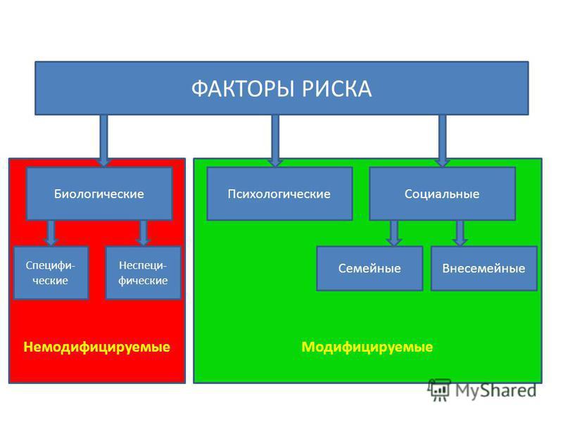 Модифицируемые Немодифицируемые ФАКТОРЫ РИСКА Биологические ПсихологическиеСоциальные Семейные Внесемейные Специфи- ческие Неспеци- фические