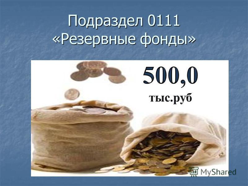 Подраздел 0111 «Резервные фонды»