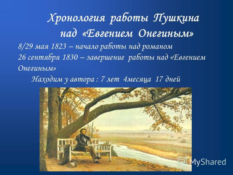 Хронология работы Пушкина над «Евгением Онегиным» 8/29 мая 1823 – начало работы над романом 26 сентября 1830 – завершение работы над «Евгением Онегиным» Находим у автора : 7 лет 4 месяца 17 дней