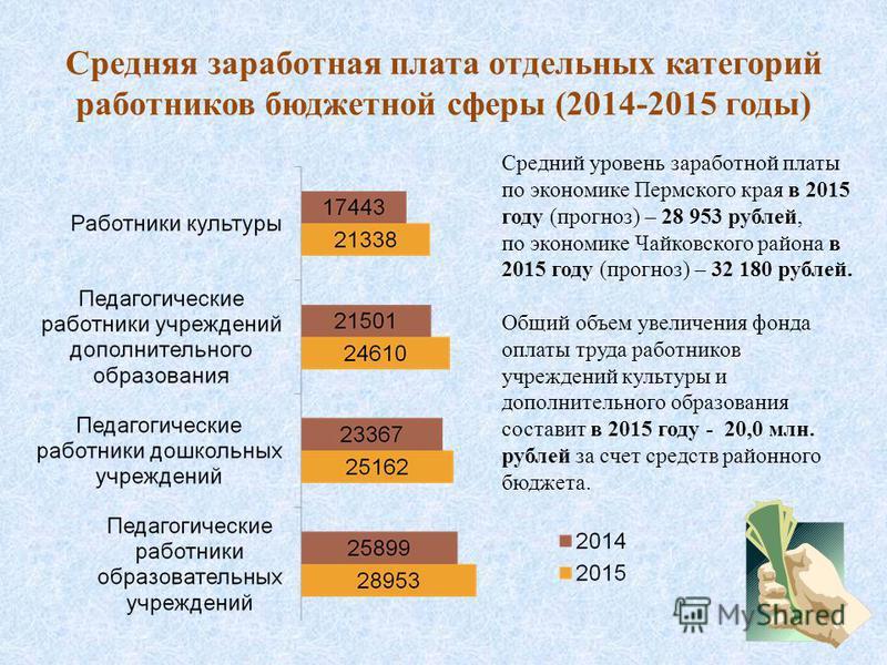 Средняя заработная плата отдельных категорий работников бюджетной сферы (2014-2015 годы) Средний уровень заработной платы по экономике Пермского края в 2015 году (прогноз) – 28 953 рублей, по экономике Чайковского района в 2015 году (прогноз) – 32 18
