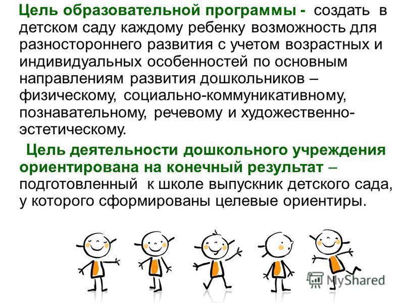 Цель образовательной программы - создать в детском саду каждому ребенку возможность для разностороннего развития с учетом возрастных и индивидуальных особенностей по основным направлениям развития дошкольников – физическому, социально-коммуникативном