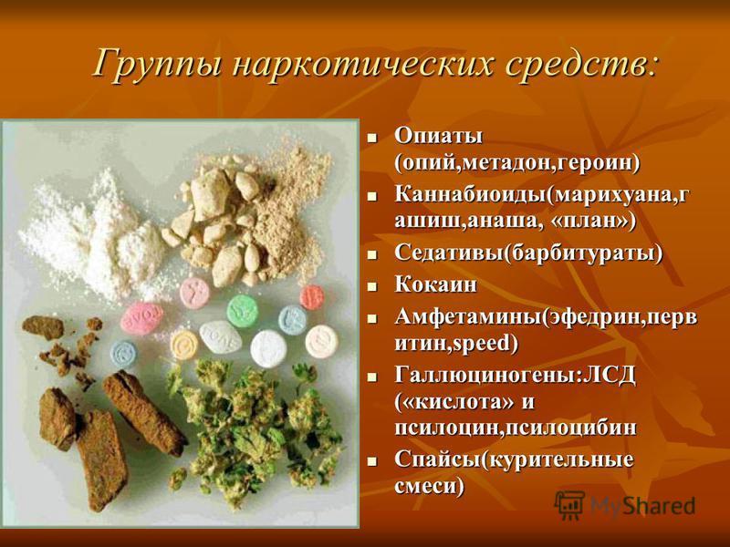Группы наркотических средств: Опиаты (опий,метадон,героин) Опиаты (опий,метадон,героин) Каннабиоиды(марихуана,гашиш,анаша, «план») Каннабиоиды(марихуана,гашиш,анаша, «план») Седативы(барбитураты) Седативы(барбитураты) Кокаин Кокаин Амфетамины(эфедрин