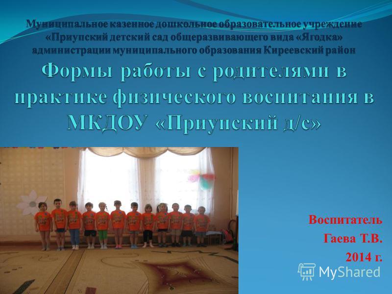 Воспитатель Гаева Т.В. 2014 г.