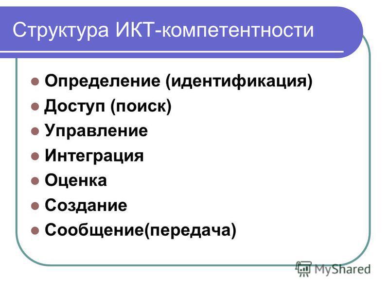 Структура ИКТ-компетентности Определение (идентификация) Доступ (поиск) Управление Интеграция Оценка Создание Сообщение(передача) Структура ИКТ-компетентности
