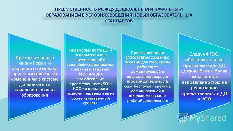 ПРЕЕМСТВЕННОСТЬ МЕЖДУ ДОШКОЛЬНЫМ И НАЧАЛЬНЫМ ОБРАЗОВАНИЕМ В УСЛОВИЯХ ВВЕДЕНИЯ НОВЫХ ОБРАЗОВАТЕЛЬНЫХ СТАНДАРТОВ Преобразования в жизни России и мирового сообщества привели к серьезным изменениям в системе дошкольного и начального общего образования Пр
