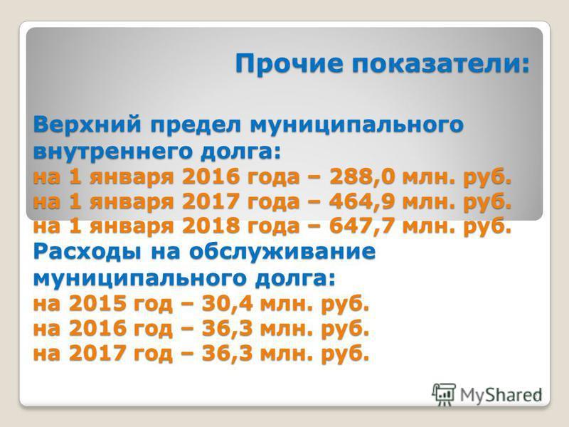 27 Прочие показатели: Прочие показатели: Верхний предел муниципального внутреннего долга: на 1 января 2016 года – 288,0 млн. руб. на 1 января 2017 года – 464,9 млн. руб. на 1 января 2018 года – 647,7 млн. руб. Расходы на обслуживание муниципального д