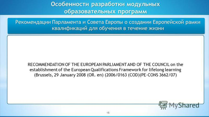 Студенческое самоуправление как форма реализации принципов демократии Рекомендации Парламента и Совета Европы о создании Европейской рамки квалификаций для обучения в течение жизни Особенности разработки модульных образовательных программ 15 RECOMMEN