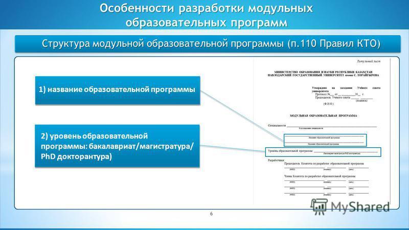 Студенческое самоуправление как форма реализации принципов демократии Структура модульной образовательной программы (п.110 Правил КТО) Особенности разработки модульных образовательных программ 6 1) название образовательной программы 2) уровень образо