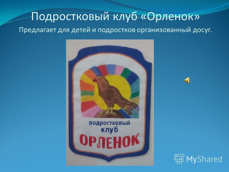 Подростковый клуб «Орленок» Предлагает для детей и подростков организованный досуг.