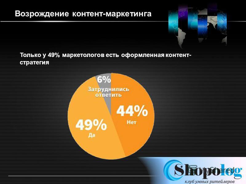 LOGO http:/ppt.prtxt.ru/ Возрождение контент-маркетинга Только у 49% маркетологов есть оформленная контент- стратегия