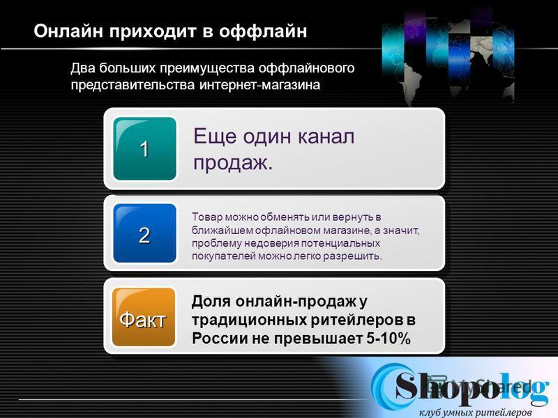 LOGO http://ppt.prtxt.ru Онлайн приходит в оффлайн 2 Товар можно обменять или вернуть в ближайшем оффлайновом магазине, а значит, проблему недоверия потенциальных покупателей можно легко разрешить. 1 Еще один канал продаж. Факт Доля онлайн-продаж у т