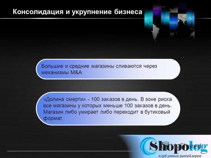 LOGO http://ppt.prtxt.ru Консолидация и укрупнение бизнеса Большие и средние магазины сливаются через механизмы M&A «Долина смерти» - 100 заказов в день. В зоне риска все магазины у которых меньше 100 заказов в день. Магазин либо умирает либо переход