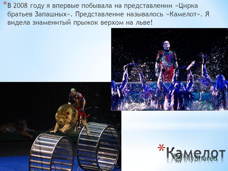 * В 2008 году я впервые побывала на представлении «Цирка братьев Запашных». Представление называлось «Камелот». Я видела знаменитый прыжок верхом на льве!