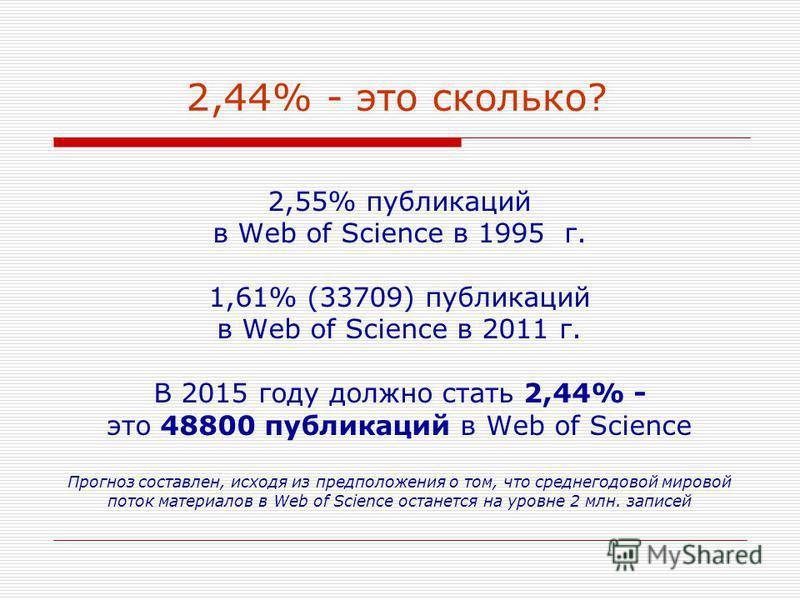2,44% - это сколько? 2,55% публикаций в Web of Science в 1995 г. 1,61% (33709) публикаций в Web of Science в 2011 г. В 2015 году должно стать 2,44% - это 48800 публикаций в Web of Science Прогноз составлен, исходя из предположения о том, что среднего