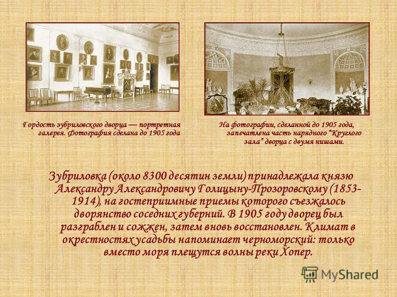 Зубриловка (около 8300 десятин земли) принадлежала князю Александру Александровичу Голицыну-Прозоровскому (1853- 1914), на гостеприимные приемы которого съезжалось дворянство соседних губерний. В 1905 году дворец был разграблен и сожжен, затем вновь