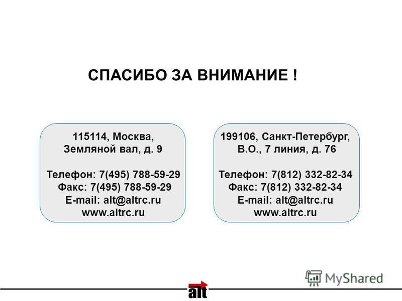 199106, Санкт-Петербург, В.О., 7 линия, д. 76 Телефон: 7(812) 332-82-34 Факс: 7(812) 332-82-34 E-mail: alt@altrc.ru www.altrc.ru 115114, Москва, Земляной вал, д. 9 Телефон: 7(495) 788-59-29 Факс: 7(495) 788-59-29 E-mail: alt@altrc.ru www.altrc.ru СПА