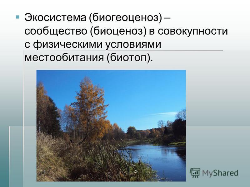 Экосистема (биогеоценоз) – сообщество (биоценоз) в совокупности с физическими условиями местообитания (биотоп). Экосистема (биогеоценоз) – сообщество (биоценоз) в совокупности с физическими условиями местообитания (биотоп).