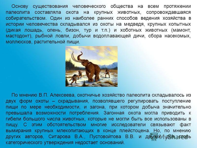 Основу существования человеческого общества на всем протяжении палеолита составляла охота на крупных животных, сопровождавшаяся собирательством. Один из наиболее ранних способов ведения хозяйства в истории человечества складывался из охоты на медведя