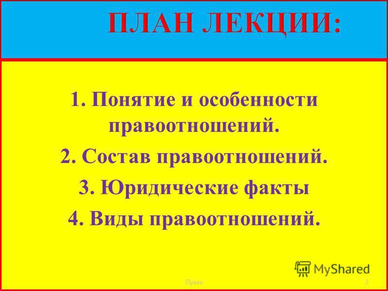 1. Понятие и особенности правоотношений. 2. Состав правоотношений. 3. Юридические факты 4. Виды правоотношений. Право 3