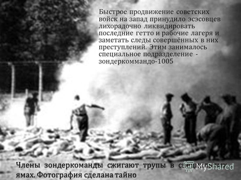 Быстрое продвижение советских войск на запад принудило эсэсовцев лихорадочно ликвидировать последние гетто и рабочие лагеря и заметать следы совершённых в них преступлений. Этим занималось специальное подразделение - зондеркоманда -1005