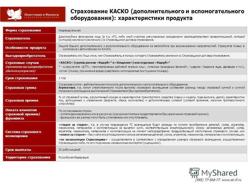 Страхование КАСКО (дополнительного и вспомогательного оборудования): характеристики продукта (495) 77-568-77 www.sk-if.ru Форма страхования Индивидуальная Страхователь Дееспособное физическое лицо (в т.ч. ИП), либо иной участник регулируемых гражданс