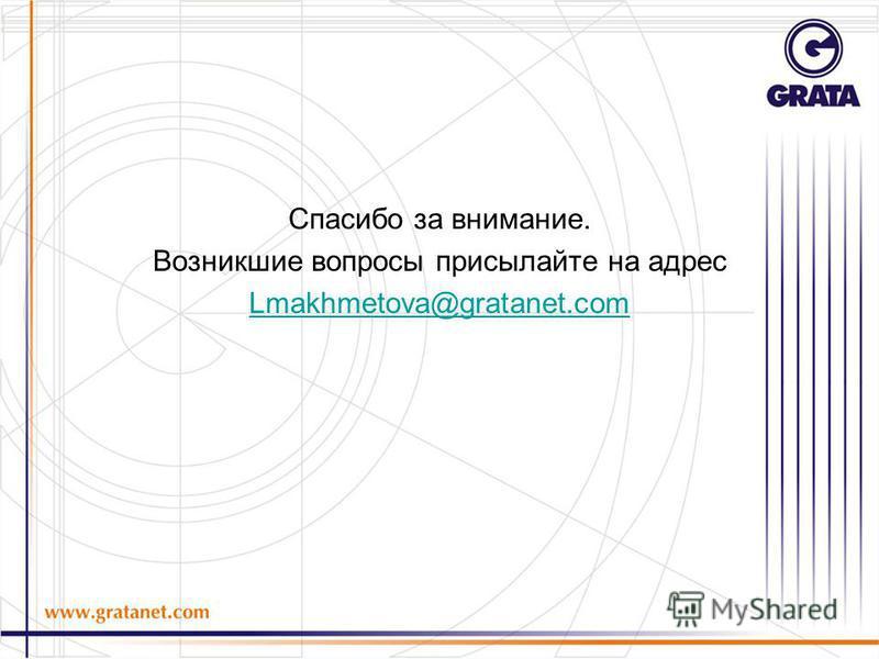 Спасибо за внимание. Возникшие вопросы присылайте на адрес Lmakhmetova@gratanet.com
