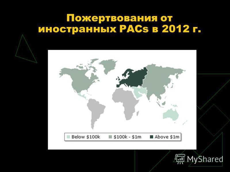 Пожертвования от иностранных PACs в 2012 г.