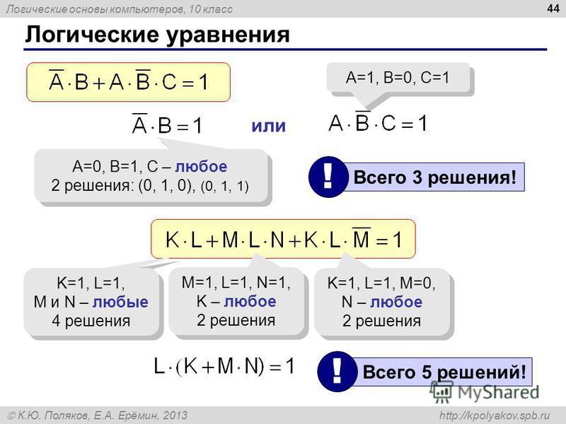 Логические основы компьютеров, 10 класс К.Ю. Поляков, Е.А. Ерёмин, 2013 http://kpolyakov.spb.ru 44 Логические уравнения A=0, B=1, C – любое 2 решения: (0, 1, 0), (0, 1, 1) A=0, B=1, C – любое 2 решения: (0, 1, 0), (0, 1, 1) или A=1, B=0, C=1 Всего 3