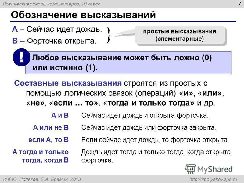 Логические основы компьютеров, 10 класс К.Ю. Поляков, Е.А. Ерёмин, 2013 http://kpolyakov.spb.ru 7 Обозначение высказываний A – Сейчас идет дождь. B – Форточка открыта. простые высказывания (элементарные) Составные высказывания строятся из простых с п