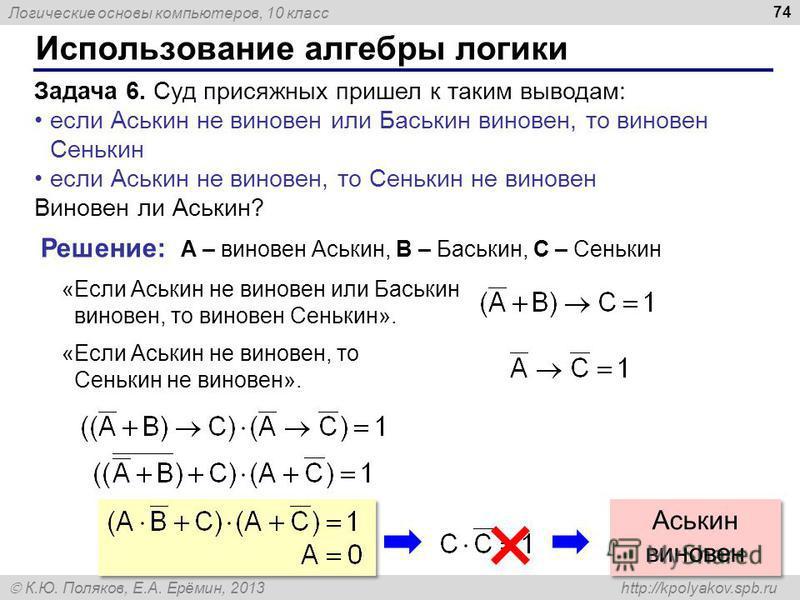 Логические основы компьютеров, 10 класс К.Ю. Поляков, Е.А. Ерёмин, 2013 http://kpolyakov.spb.ru Использование алгебры логики 74 Задача 6. Суд присяжных пришел к таким выводам: если Аськин не виновен или Баськин виновен, то виновен Сенькин если Аськин