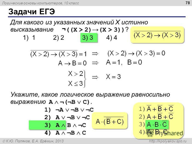 Логические основы компьютеров, 10 класс К.Ю. Поляков, Е.А. Ерёмин, 2013 http://kpolyakov.spb.ru Задачи ЕГЭ 78 Для какого из указанных значений X истинно высказывание ¬ ((X > 2) (X > 3)) ? 1) 1 2) 23) 34) 4 Укажите, какое логическое выражение равносил
