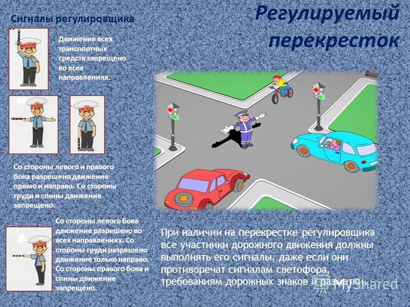 Регулируемый перекресток Сигналы регулировщика При наличии на перекрестке регулировщика все участники дорожного движения должны выполнять его сигналы, даже если они противоречат сигналам светофора, требованиям дорожных знаков и разметки. Движение все
