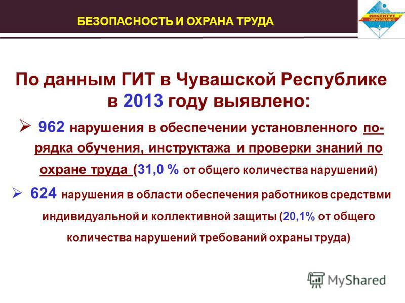 По данным ГИТ в Чувашской Республике в 2013 году выявлено: 962 нарушения в обеспечении установленного по- рядка обучения, инструктажа и проверки знаний по охране труда (31,0 % от общего количества нарушений) 624 нарушения в области обеспечения работн