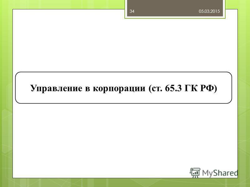 05.03.201534 Управление в корпорации (ст. 65.3 ГК РФ)