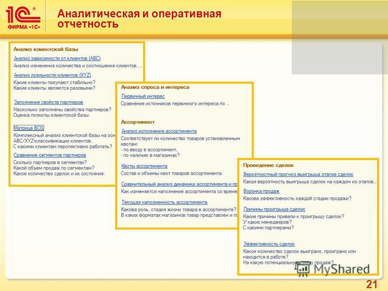 21 Аналитическая и оперативная отчетность