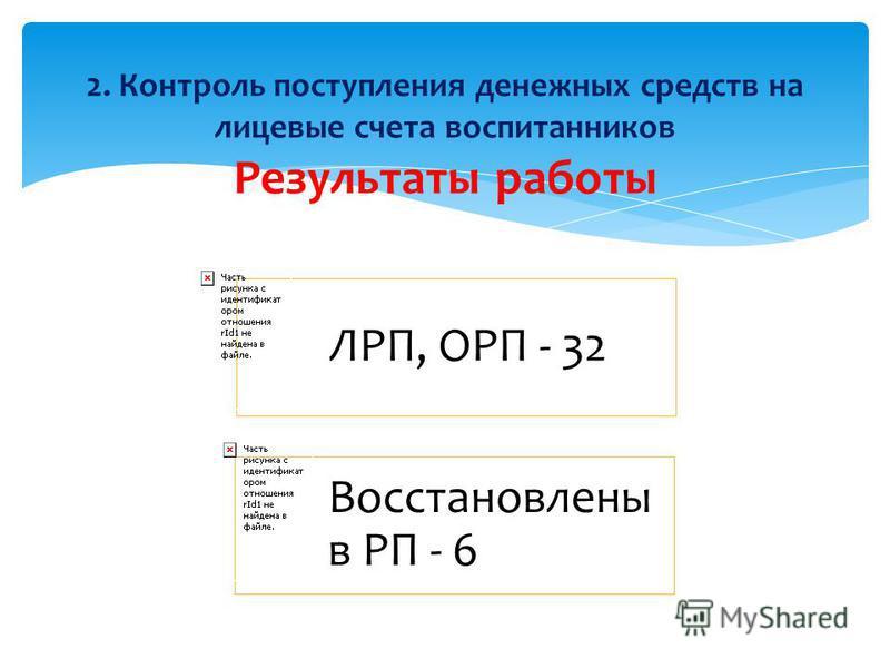 ЛРП, ОРП - 32 Восстановлены в РП - 6 2. Контроль поступления денежных средств на лицевые счета воспитанников Результаты работы